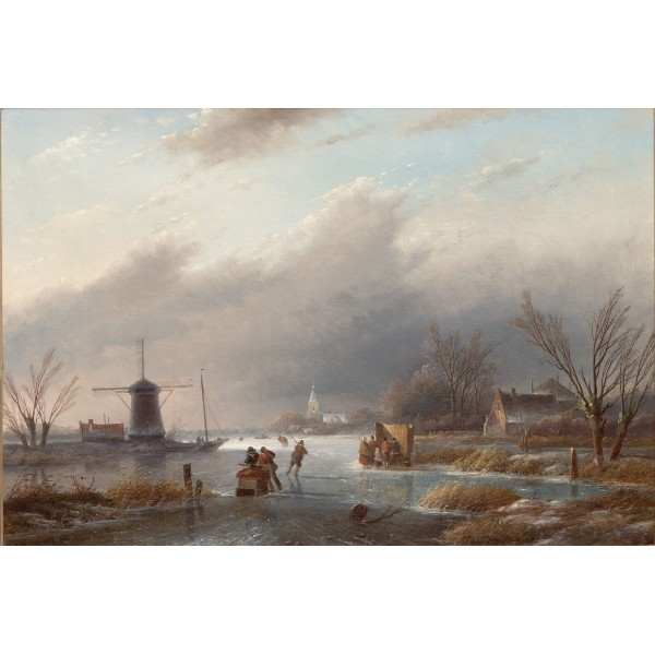 Ice scene with mill and stall