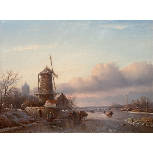Ice scene with skaters and mill