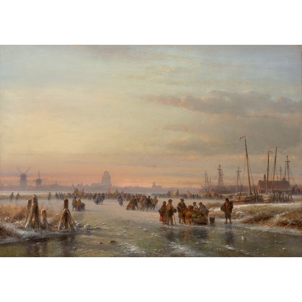 """Ice scene with skaters at """"Dordrecht"""""""